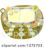 Clipart Of A Classroom With Gear Cog Wheels Royalty Free Vector Illustration by BNP Design Studio