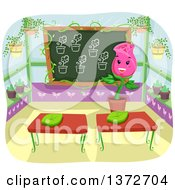 Clipart Of A Happy Rose Flower Teacher In A Green House Class Room Royalty Free Vector Illustration by BNP Design Studio