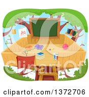 Clipart Of A Tree House Class Room With A Chalkboard Royalty Free Vector Illustration by BNP Design Studio