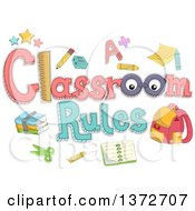 Clipart Of A Classroom Rules Design With Accessories Royalty Free Vector Illustration