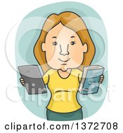 Clipart Of A Blond White Woman Holding A Book And Tablet Computer Royalty Free Vector Illustration