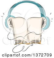 Clipart Of A Sketched Audio Book With Headphones Royalty Free Vector Illustration