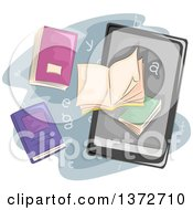 Clipart Of A Tablet Or E Reader With Books Royalty Free Vector Illustration