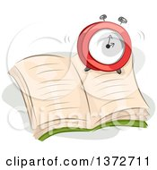 Clipart Of A Ringing Alarm Clock On An Open Book Royalty Free Vector Illustration