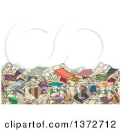 Clipart Of A Background Of A Giant Book Pile And Text Space Royalty Free Vector Illustration