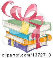 Clipart Of A Pink Gift Bow And Ribbon Around A Stack Of Books Royalty Free Vector Illustration