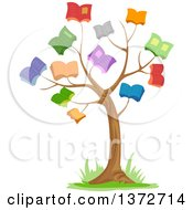 Clipart Of A Tree With Book Foliage Royalty Free Vector Illustration by BNP Design Studio