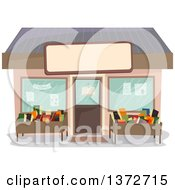 Clipart Of A Book Store Shop Facade Royalty Free Vector Illustration
