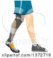 Man Shown From The Hips Down Walking With A Prosthetic Leg