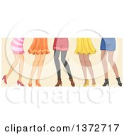 Clipart Of A Group Of Women Shown From The Hips Down Royalty Free Vector Illustration
