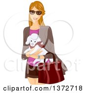 Clipart Of A Happy Dirtly Blond White Woman Wearing Sunglasses And Carrying A Poodle Royalty Free Vector Illustration