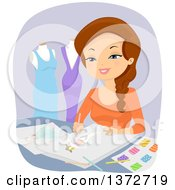 Clipart Of A Happy Brunette White Female Fashion Designer Drawing Royalty Free Vector Illustration