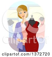 Clipart Of A Blond White Female Fashion Designer Putting A Dress On A Mannequin Royalty Free Vector Illustration by BNP Design Studio
