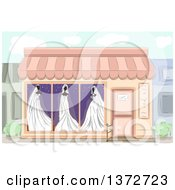 Clipart Of A Wedding Boutique With Bridal Gowns In The Window Royalty Free Vector Illustration by BNP Design Studio