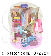 Clipart Of A Wardrobe Closet With Apparel Royalty Free Vector Illustration