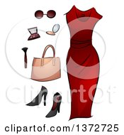 Clipart Of A Red Dress Makeup And Accessories Royalty Free Vector Illustration