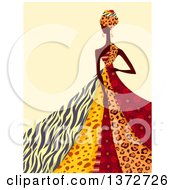 Clipart Of An African Queen In A Patterned Dress Over Beige Royalty Free Vector Illustration