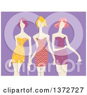Clipart Of Models Wearing Patterned Dresses Over Purple Royalty Free Vector Illustration