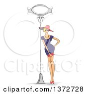 Clipart Of A Sketched Blond White Woman In A Fashionable Dress Leaning Against A Sign Post Royalty Free Vector Illustration