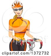 Blond White Woman Wearing Sunglasses And A Helmet Standing By A Bicycle
