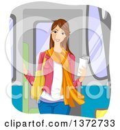 Clipart Of A Happy Young Brunette White Woman Holding A Piece Of Paper On A Train Royalty Free Vector Illustration