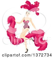 Clipart Of A Blond White Woman Dancing In A Pink Cabaret Costume Royalty Free Vector Illustration