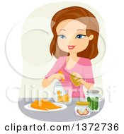 Clipart Of A Happy Brunette White Woman Canning Carrots And Cucumbers Royalty Free Vector Illustration by BNP Design Studio