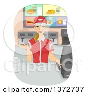 Young Blond White Woman Working As A Cashier In A Fast Food Joint