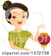 Clipart Of A Happy Asian Woman Holding A Chinese Lantern Royalty Free Vector Illustration