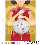 Clipart Of A Woman Holding A Chinese Lantern Over Yellow Royalty Free Vector Illustration
