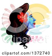 Clipart Of A Colorful Womans Face With A Hawaiian Hibiscus Flowers And Painted Spots Royalty Free Vector Illustration