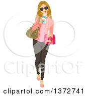 Clipart Of A Blond Caucasian Woman Walking With A Container Of Takeout Food And Drinking A Soda Royalty Free Vector Illustration