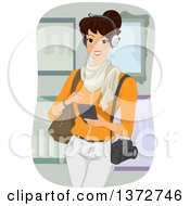 Clipart Of A Happy Brunette White Woman Listening To A Museum Audio Guide Royalty Free Vector Illustration