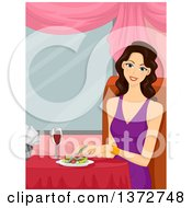 Clipart Of A Happy Brunette White Woman Dining In A Restaurant Royalty Free Vector Illustration