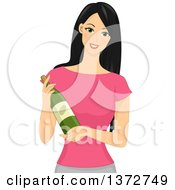 Clipart Of A Beautiful Woman Holding A Bottle Of Wine Royalty Free Vector Illustration by BNP Design Studio