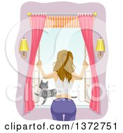 Clipart Of A Rear View Of A Dirty Blond White Woman Opening A Window With Her Cat On The Pane Royalty Free Vector Illustration