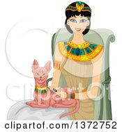 Clipart Of A Happy Egyptian Woman Petting A Sphinx Cat Royalty Free Vector Illustration