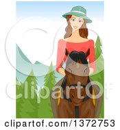 Clipart Of A Brunette White Woman Riding A Horse In The Woods Royalty Free Vector Illustration