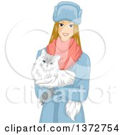 Clipart Of A Happy Blond White Woman Carrying A White Siberian Cat Royalty Free Vector Illustration