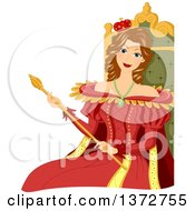 Clipart Of A Brunette White Queen Sitting On The Throne And Holding A Scepter Royalty Free Vector Illustration by BNP Design Studio