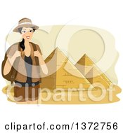 Clipart Of A Female Tourist Smiling And Posing Near The Pyramids Of Egypt Royalty Free Vector Illustration