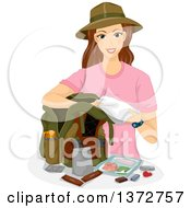Clipart Of A Brunette White Woman Packing A Hiking Bag Royalty Free Vector Illustration by BNP Design Studio