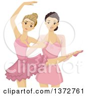 Clipart Of A Ballerina Coach Giving Lessons To A Student Royalty Free Vector Illustration
