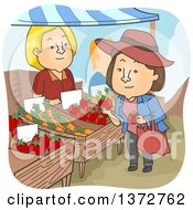 Clipart Of A Vendor Watching A Brunette White Woman Shop For Tomatoes At A Farmers Market Royalty Free Vector Illustration