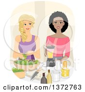 Clipart Of Happy White And Black Women Making Smoothies Royalty Free Vector Illustration