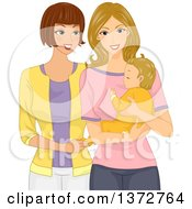 Clipart Of A Caucasian Woman Visiting Her Friend And Baby Royalty Free Vector Illustration