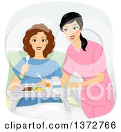 Clipart Of A Brunette White Woman In A Hospital Being Served A Meal Royalty Free Vector Illustration by BNP Design Studio