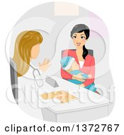 Clipart Of A White Female Doctor Speaking With A Young Mother Royalty Free Vector Illustration