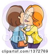 Clipart Of White Women Kissing Cheeks Royalty Free Vector Illustration