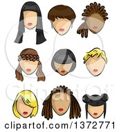 Clipart Of Female Faces With Different Hairstyles Royalty Free Vector Illustration